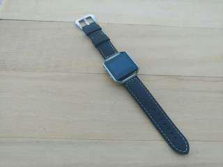 Leather straps with silver frame. For Fitbit Blaze