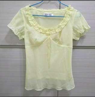 🚚 專櫃poma 鵝黃 雪紡衫 短袖上衣 #九月女裝半價