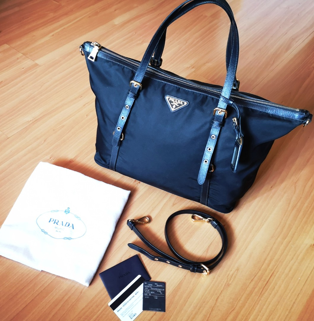 bc4ec15ddc36 550 FastDeal] Auth Prada Tessuto Nylon & Soft Calf Leather Trim Top ...