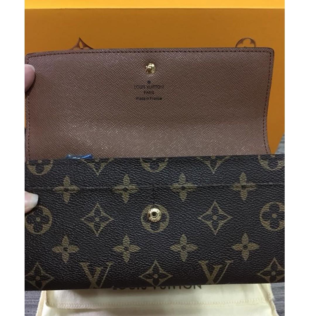 675ca4322e1a Authentic Quality Louis Vuitton Louis Vuitton Monogram Canvas Sarah Wallet  Brown Button Lock with Credit Card Holder LV Collections Women s Wallet