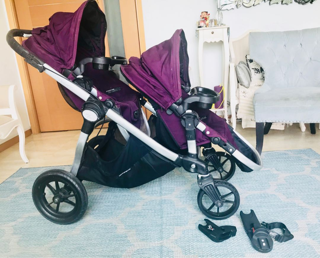 Baby Jogger City Select Double Stroller With Accessories 2 Trays Adaptors