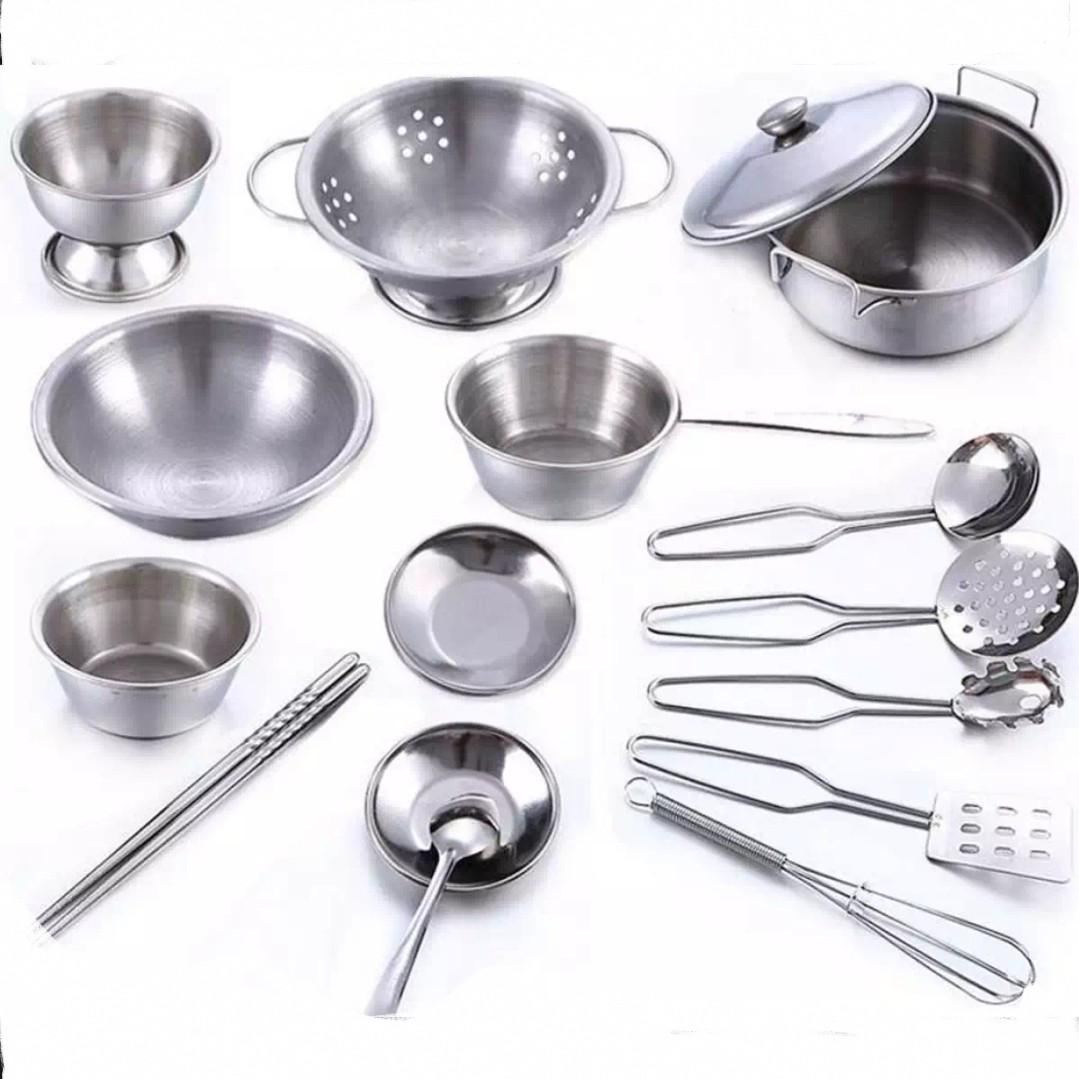 Bn 16pcs Stainless Steel Silver Metal Kitchen Cooking Dinner