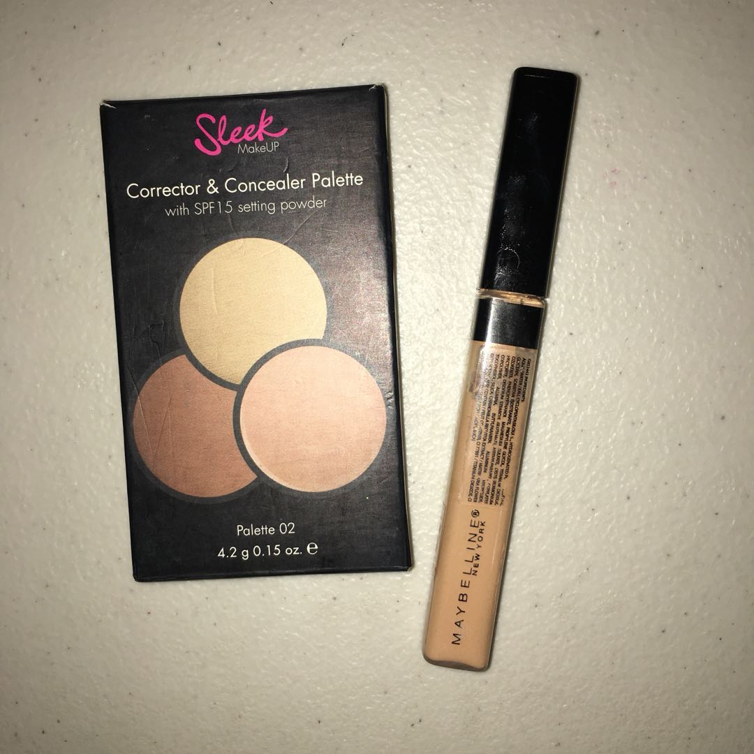 BUNDLE 1: SLEEK MAKEUP CORRECTOR & CONCEALER PALETTE (02) and MAYBELLINE FIT ME CONCEALER (25/Medium Moyen), Health & Beauty, Makeup on Carousell