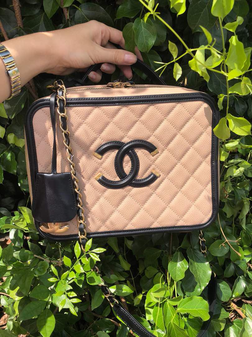 59a022a07bf7 Chanel Vanity Case Large Beige/Black, Luxury, Bags & Wallets ...