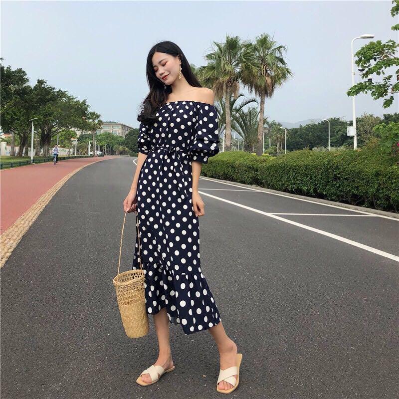 Korea Preorder Polkadot Midi Dress Evening Dress Women S Fashion