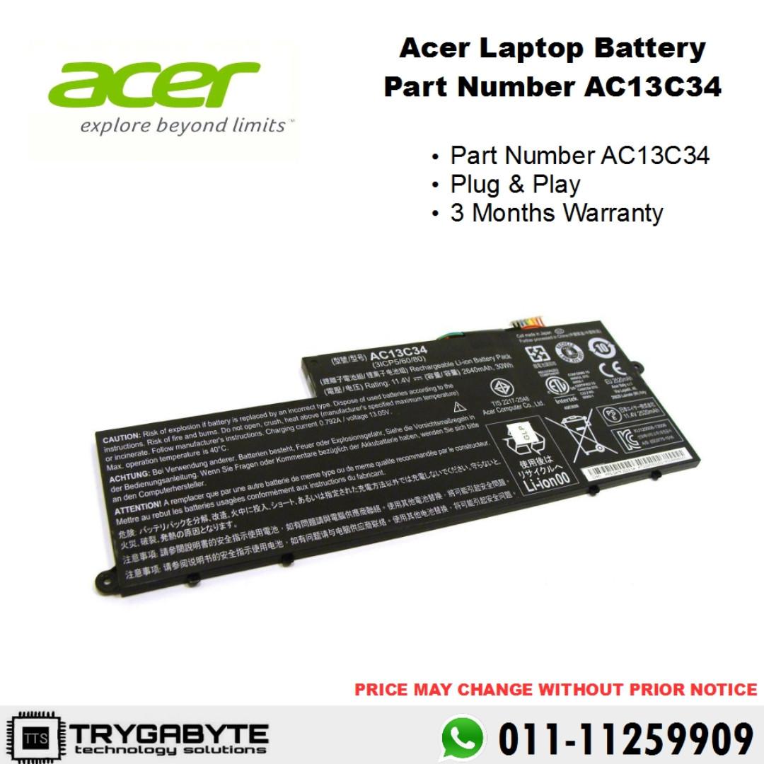 Laptop Acer Aspire Chromebook Travelmate Gateway Battery Part Number AC13C34 Replacement Bateri Rosak Tukar