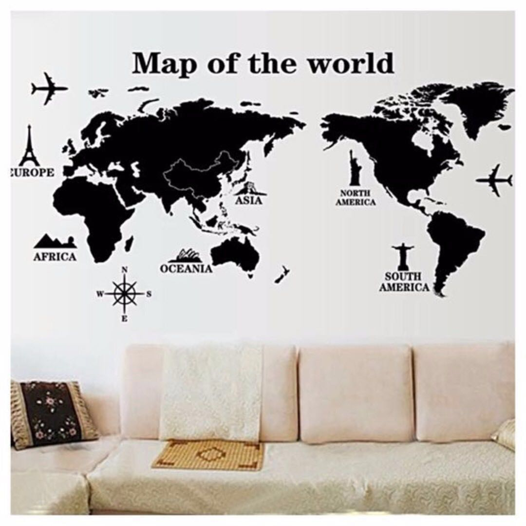 Large black and white world map wall decal sticker art decor large black and white world map wall decal sticker art decor mural wallpaper transfer stencil tattoo design for living bedroom kids room instant gumiabroncs Choice Image