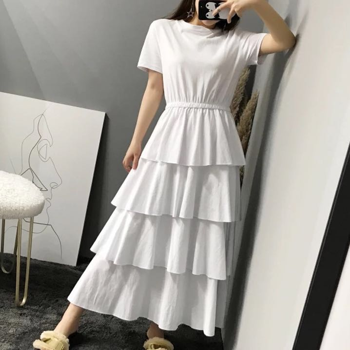 casual simple long dress with sleeves
