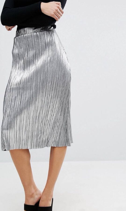 Metallic Silver Pleat Midi Skirt