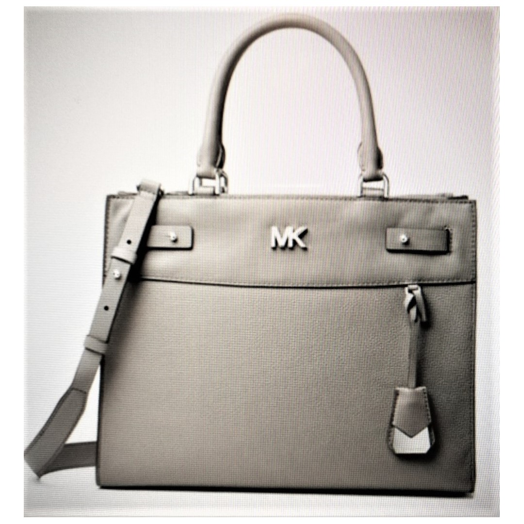 cea4a9a1c1aa Michael Kors Reagan Large Leather Satchel in Pearl Grey (Authentic ...