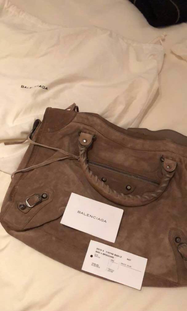 cb8bb0dcc90 Original Balenciaga Classic City Suede Tote Bag, Women's Fashion ...