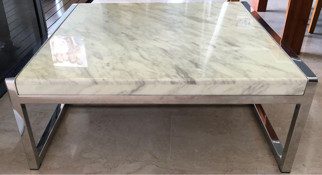 Solid Marble Top Coffee Table White