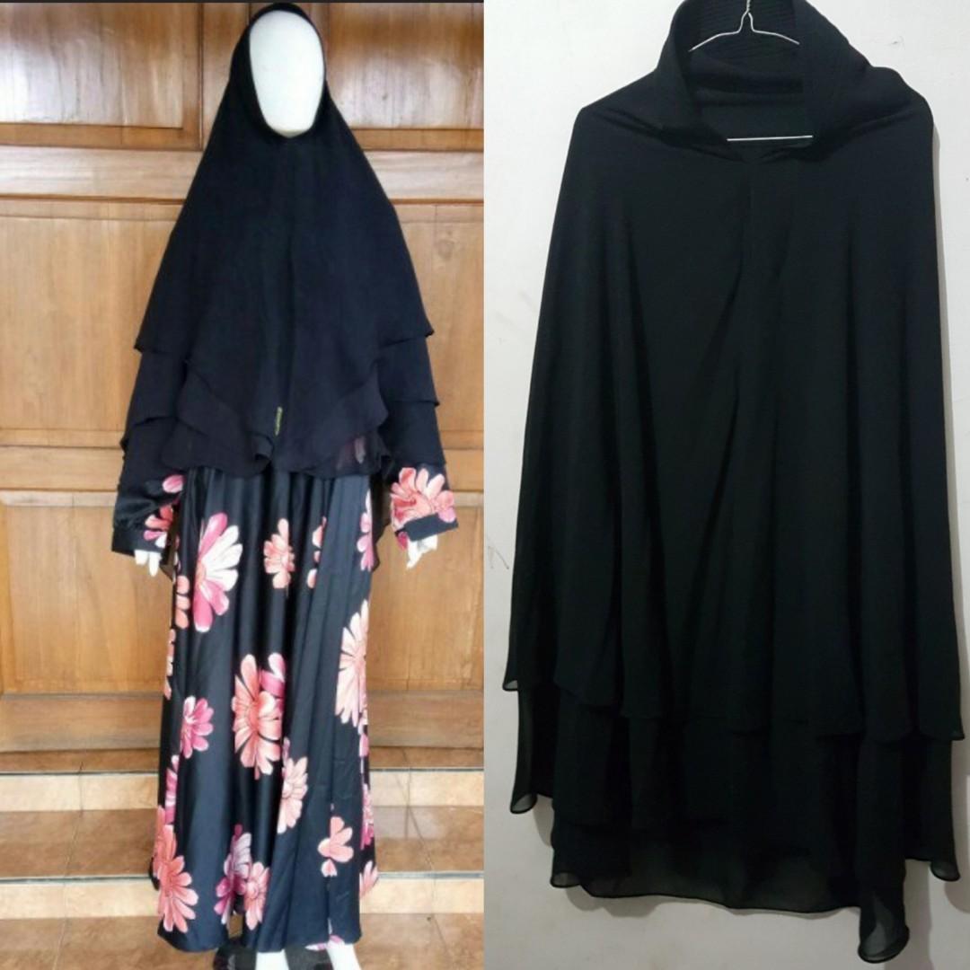 Syari Set Gamis Flower Flowery Atasan Khimar Top Pakaian Muslim Tanpa Bergo Muslimah Lebar Payung Umbrella Olshop Fashion Di Carousell