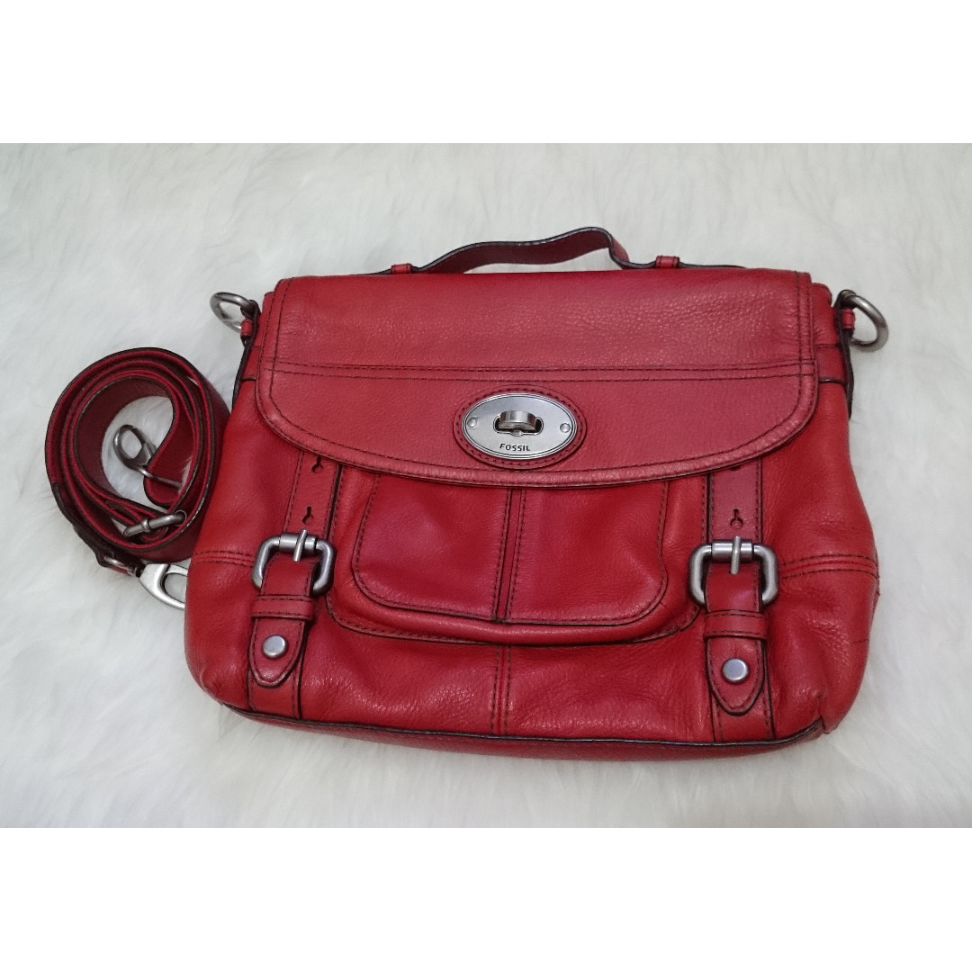 TAS PRELOVED SECOND FOSSIL ORIGINAL MADDOX TOP HANDLE RED b85c9a9543