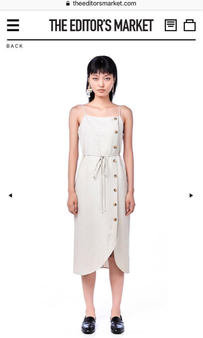 e669a16d4bda TEM Deryn Bib Midi Dress in Sand XS, Women's Fashion, Clothes ...