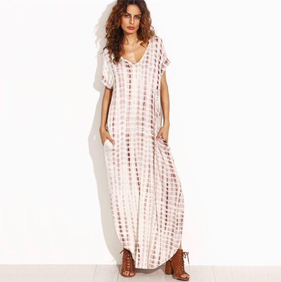Tie Dye Maxi Dress With Pockets And Rounded Hem Women S Fashion