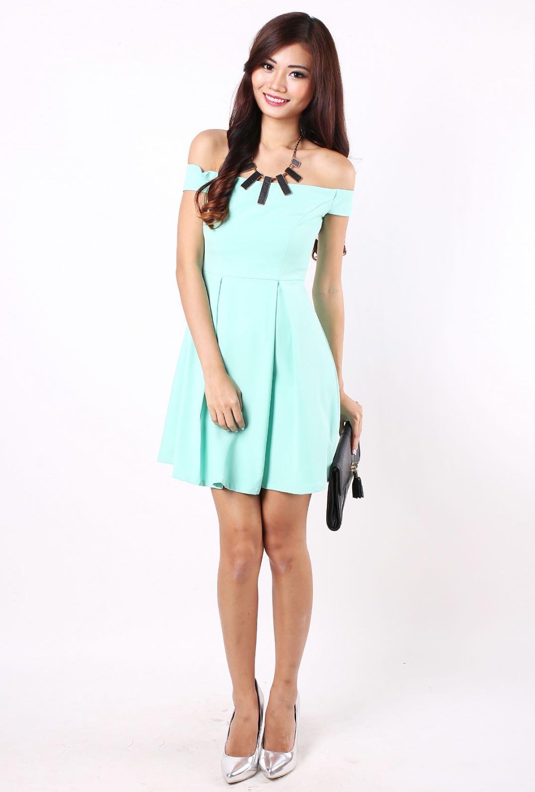 ea03b85e292e Tiffany blue off shoulder dress