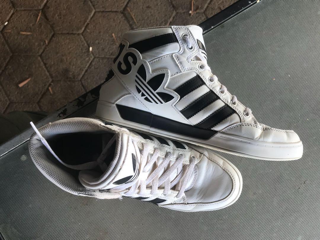 White adidas hightop sneakers