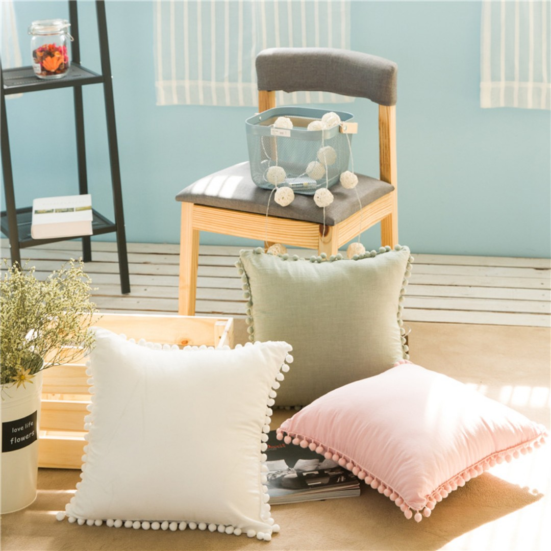 White Cushion Cover With Pom Trims Furniture Home Decor