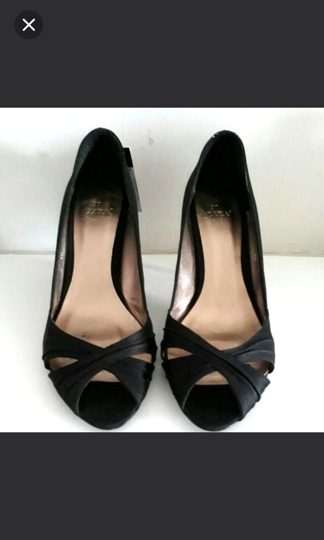 5e23548c47 Zara Black Satin Fabric Peep Toe High Heels, Women's Fashion, Shoes ...