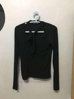 Brandy Melville Black Sweater with Neck Tie