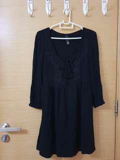 Black Dress with Rose Details