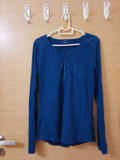 Blue Button Up Long Sleeve Blouse