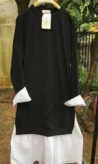 tunik dress combinasi kemeja katun