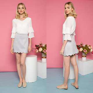 TSW Sabriel Suede Scallop Hem Skirt (Lilac Grey) S