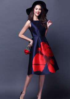 Formal Navy Blue Rose OL Dress