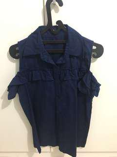 Navy top shoulder off