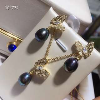💗黑珍珠兩件式套組💗 天然黑珍珠蝴蝶造型設計 耳環 項鍊 套裝