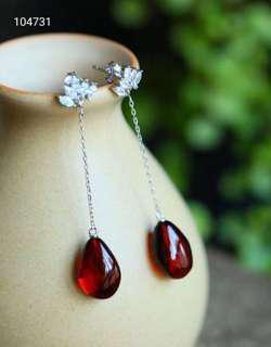 【血珀耳環】天然血珀水滴造型耳環