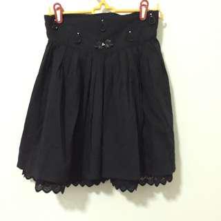 Vintage Black Ruffle Skirt