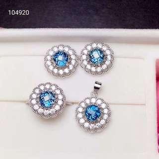 【藍托帕石3件式套組】天然巴西倫敦藍托帕石3件套裝 項鍊 戒指 耳環