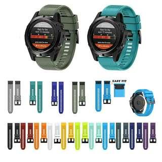 GARMIN  FORERUNNER/FENIX/VIVOACTIVE series silicone watch straps 系列代用矽膠錶帶 送工具螺絲2支