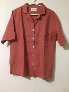 🚚 【全新】磚紅色棉質薄短袖