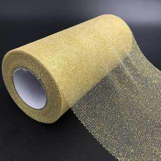 15cm X 25 Yards Glitter Tulle Roll for Party Supply Wedding Decor (Gold)