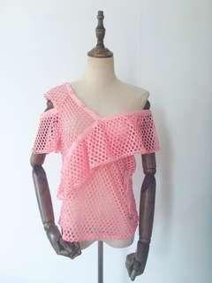 Pink hollow cut top