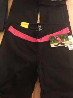 Black yoga pants with pink