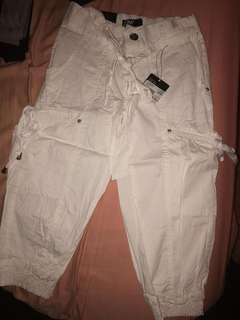 White cargo Capri pants