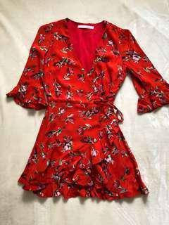 Zara Red Floral Romper