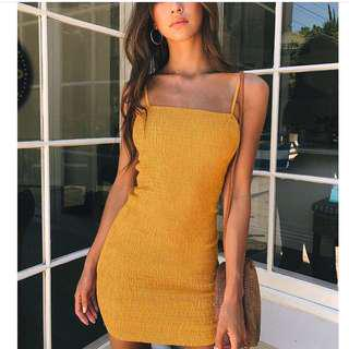 Yellow Tank Span Fit Dress, Import by @pomeeofficial