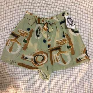 Cute Cream Vintage Retro Green High Waist Shorts XS - S 6 - 8