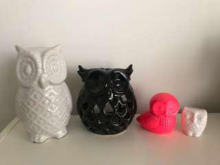 Typo Porcelain Owl Home Decor Set