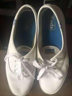 Authentic Keds White Leather Shoes Size 8