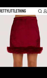 ! Velvet Mini Skirt Faux Fur Trim PLT !