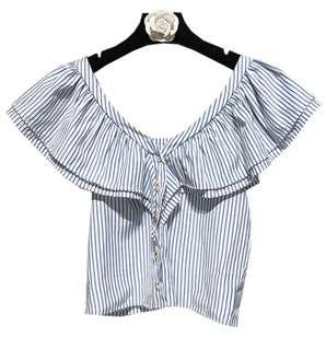 Zara inspired V cut Striped Off Shoulder Top