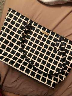 Kate Spade Checkered Tote Bag with Zipper