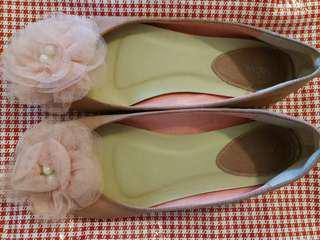 Brands outlet shoe (net flower with pearl style)